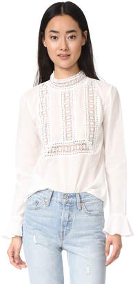 endless rose Semi High Neck Top With Belle Sleeves $70 thestylecure.com