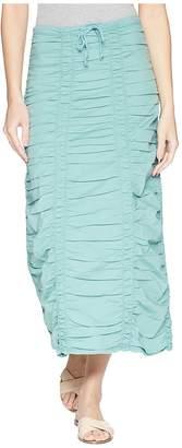 XCVI Stretch Poplin Double Shirred Panel Skirt Women's Skirt
