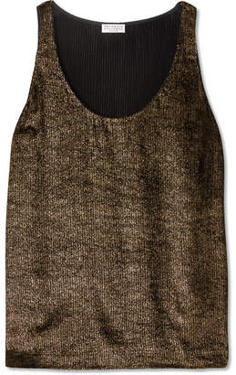 Brunello Cucinelli Metallic Ribbed Jersey Top - Gold