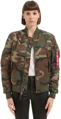 Alpha Industries Reversible Camo Nylon Bomber Jacket