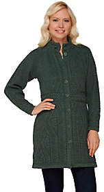 Aran Craft Merino Wool Long Cardigan withBelt Stitching