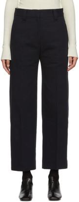 Studio Nicholson Navy Straight Pleated Trouser