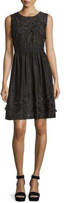 Elie Tahari Kia Sleeveless Organdy Dress w/ Floral Appliqué $498 thestylecure.com