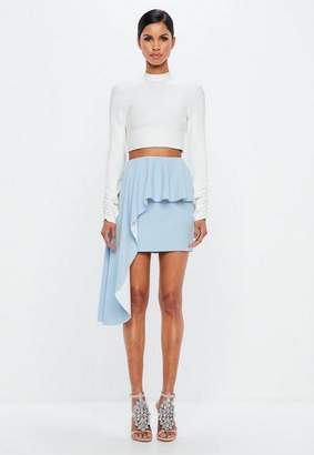 Missguided Powder Blue Exaggerated Frill Skirt