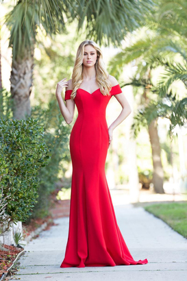 Colors Dress - 1769 Off the Shoulder Sheer Lace Back Long Dress $258 thestylecure.com