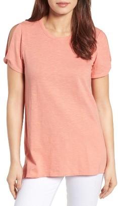 Women's Caslon Slub Cotton Cold Shoulder Tee $39 thestylecure.com