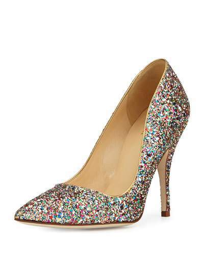 Kate Spade New York Licorice Too Glitter Point-Toe Pump