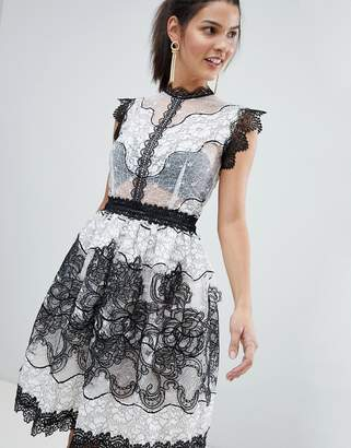 Bronx And Banco Monochrome Lace Mini Dress