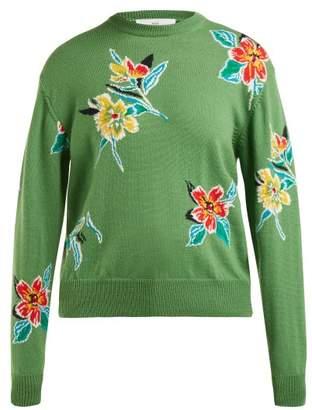 Toga Floral Intarsia Wool Sweater - Womens - Green