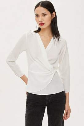 Topshop Knot Front 3/4 Sleeve Blouse