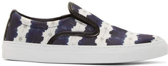 Mother of Pearl White and Navy Floral Stripe Achilles Slip-On Sneakers