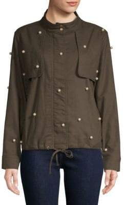 Faux Pearl Embellished Cotton Jacket