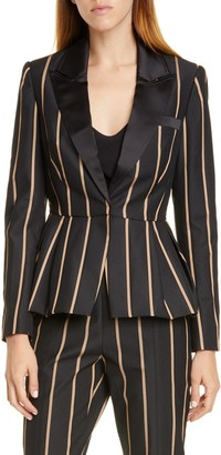 Self-Portrait Stripe Peaked Lapel Jacket