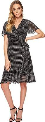 Tahari by Arthur S. Levine Women's Short Sleeve Polka DOT A LINE Dress with Ruffle Detail
