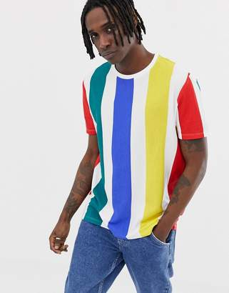 Asos DESIGN relaxed t-shirt with thick vertical rainbow stripe