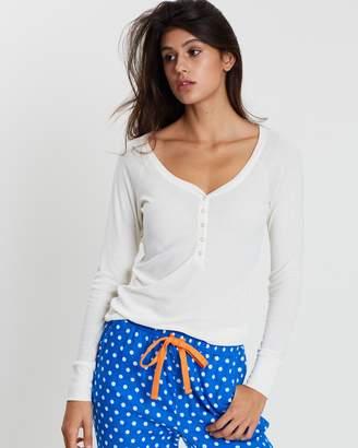 Cotton On Rib Henley Long Sleeve Top