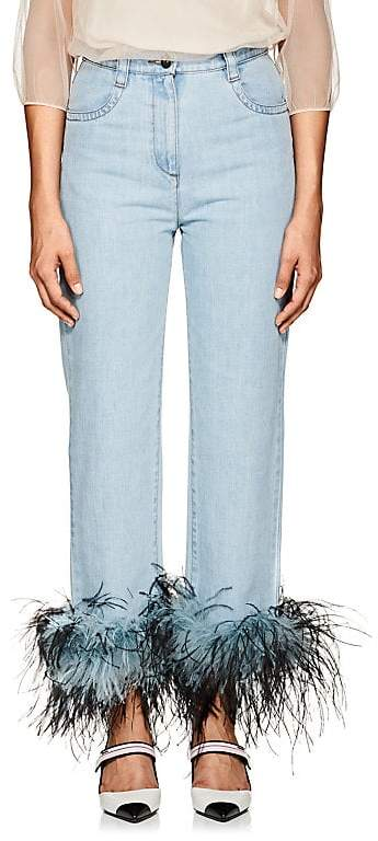 Women's Ostrich-Feather-Embellished Relaxed Jeans