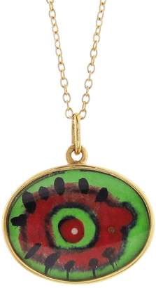 EYE M by Ileana Makri Hand Painted Green and Red Evil Eye Necklace