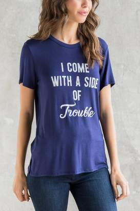 francesca's I Come With Trouble Graphic Tee - Navy