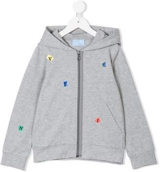Lanvin Enfant logo lettering zip-up hoodie