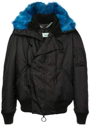 Off-White faux fur trimmed parka coat