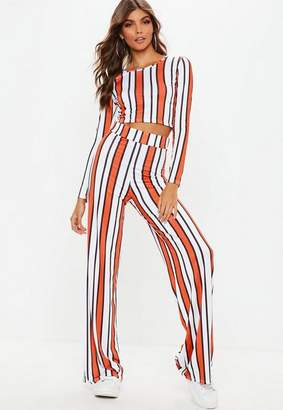 Missguided Orange Stripe Keyhole Crop Wide Trousers Co Ord, Orange