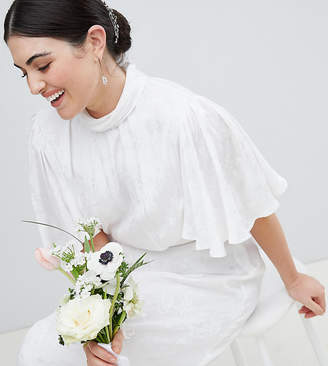 Asos Edition Curve Wedding Dress in soft jacquard with flutter sleeve