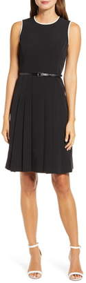 Anne Klein Piped Detail Belted Fit & Flare Dress