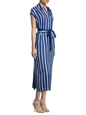 Escada Striped Silk Tunic Shirtdress