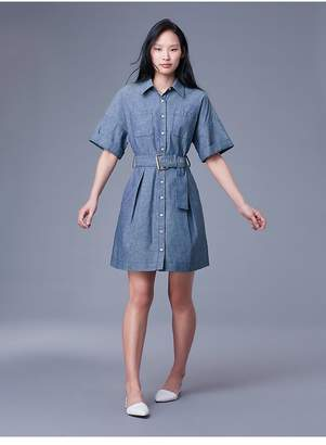 Diane von Furstenberg Short-Sleeve Button-Up Denim Belted Shirt Dress