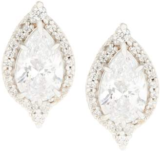 Judith Ripka Sterling or 14K Clad Pear Diamonique Halo Stud Earrings