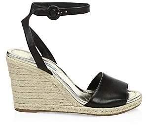 5eafebfcbd7 Prada Women s Leather Wedge Espadrille Sandals