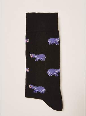 Topman Mens Black Neon Hippo Print Socks