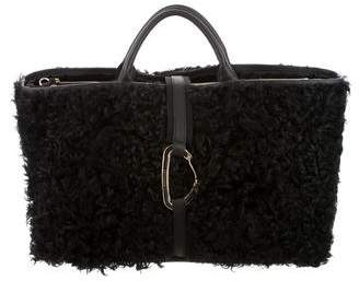 Moncler Leather-Trimmed Fur Bag