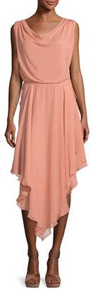 Haute Hippie Anastasia Draped Chiffon Dress W/ Asymmetric Hem $425 thestylecure.com
