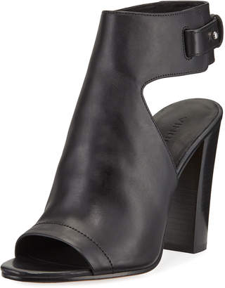 Vince Addie Leather Open-Toe Booties, Black
