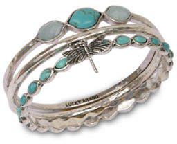 Lucky Brand Silver-tone turq bangle set bracelet