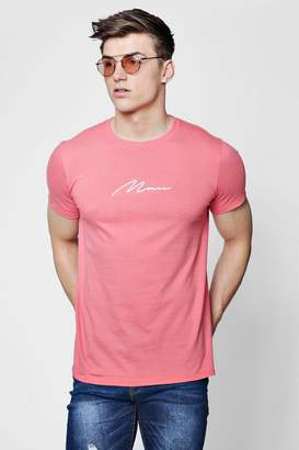boohoo MAN Signature Embroidered T-Shirt