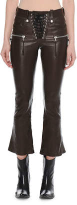 Unravel Lace-Up Flared-Leg Cropped Leather Pants