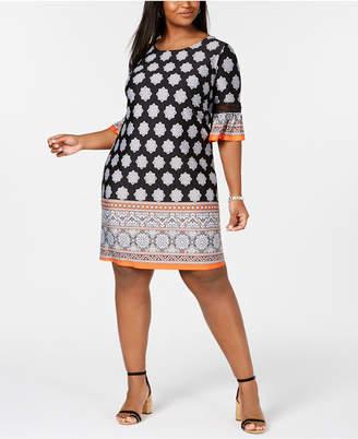 NY Collection Elementz Plus & Petite Plus Size Border-Print Bell-Sleeve Dress