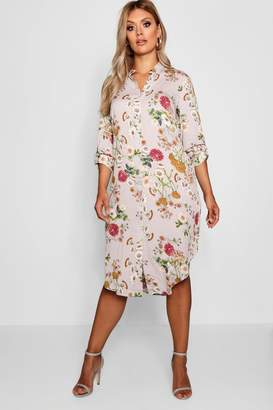 boohoo Plus Floral Printed Shirt Dress