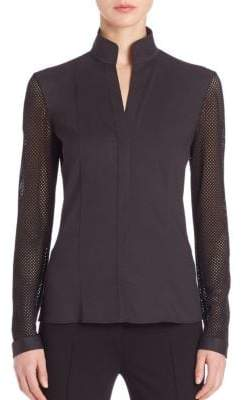 Akris Punto Elements Mesh-Sleeve Blouse