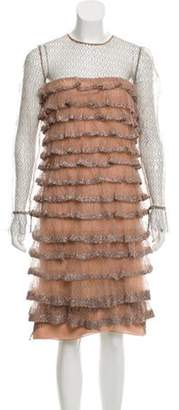 Valentino Embellished Knee-Length Dress Mauve Embellished Knee-Length Dress
