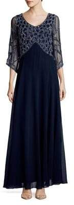 J Kara Plus Embelllished Empire Waist Gown