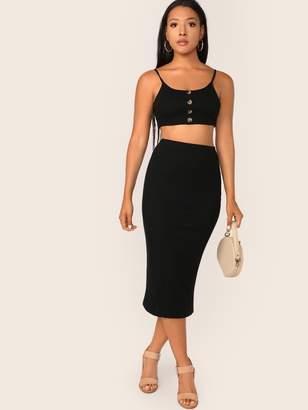 b166c92725 Shein Button Front Rib-knit Cami Crop Top & Pencil Skirt Set