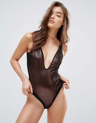 Pour Moi? Pour Moi Vegas Baby Overlaid Mesh Swimsuit