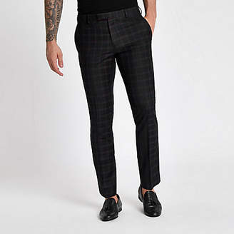 River Island Black and burgundy check skinny suit pants