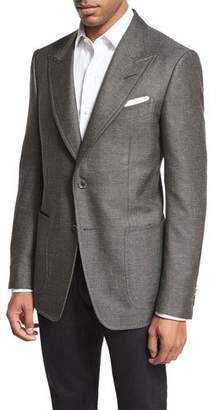 Tom Ford Shelton Base Tonal Textured Sport Coat, Gray