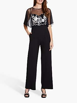 1e1468f60b3a2 at John Lewis and Partners · Adrianna Papell Floral Embroidered Jumpsuit,  Black/Ivory