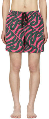Double Rainbouu Pink and Green Synth Uuave Night Swim Shorts